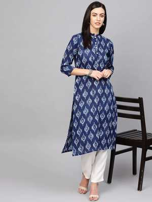 Blue Colored Printed Rayon Kurta