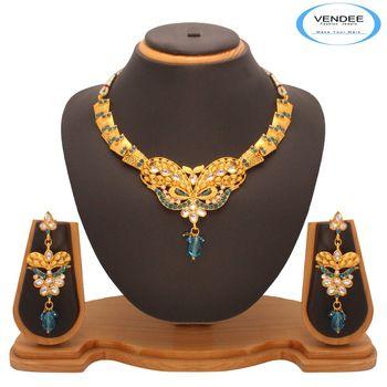 Vendee Fashion Sky blue  Kundan Nacklace Jewelry (7202)