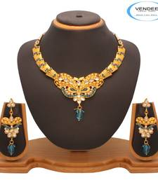 Buy Vendee Fashion Sky blue  Kundan Nacklace Jewelry (7202) necklace-set online