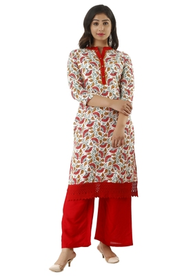 RED PRINTED RAYON KURTAS AND KURTIS WITH PALAZZO