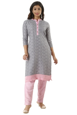 GREYPRINTED RAYON KURTAS AND KURTIS WITH PANT SET