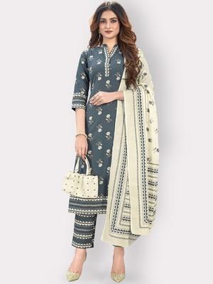 Women'S Floral Print & Embroidered Straight Cotton Grey Kurta,Pant & Dupatta