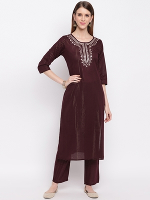 Women'S Embroidered / Striped Print Straight  Maroon(Wine) Kurti With Pant Set