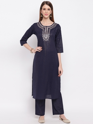 Women'S Embroidered / Striped Print Straight  Blue Kurti With Pant Set