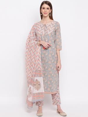 Women'S Floral Print & Hand Work Straight Cotton Grey Kurta,Pant & Dupatta