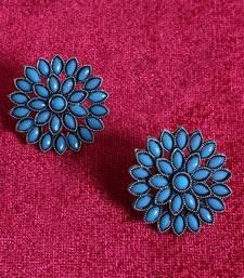 Unique Antiq Turquoise Flower Studs