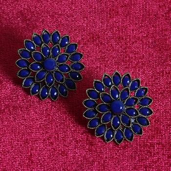 Unique Antiq Blue Flower Studs