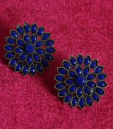 Unique Antiq Blue Flower Studs
