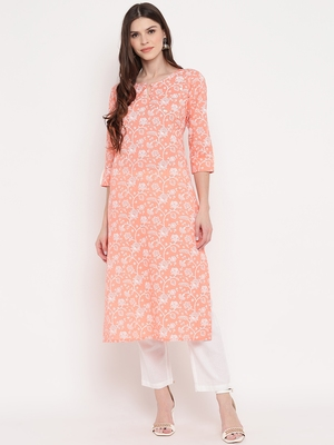 Women'S Foil Print Straight Cotton Light Orange Kurta With Pant Set
