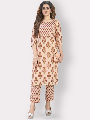 Women'S Printed & Sequience Straight Cotton Orange Kurta,Pant Set