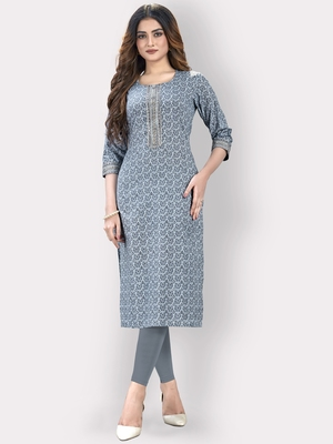 Women'S Floral Print & Embroidered Straight Cotton Blue Kurti