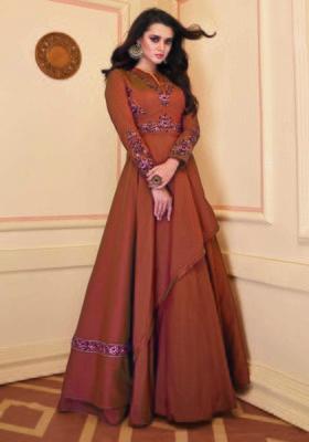 Orange embroidered silk party-wear-kurtis