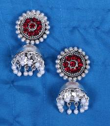 SILVER PLATED JHUMKAS WITH RED STONE