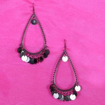 Black Party Wear Designer Earrings Metal Earrings