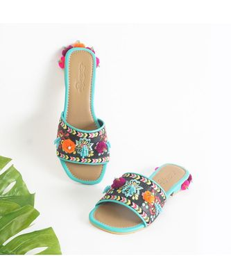 Dawn- Black Vegan leather with Pastel Heel with Turquoise with Pink Orange and Purple Pom pom
