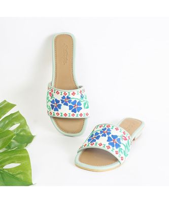 White Vegan Leather with Navy Blue and Green Embroidery with yellow Beads and Sea Green Piping