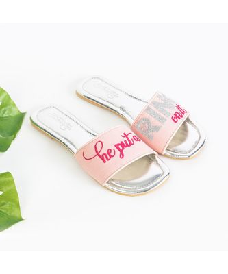 He Put a Ring - Baby Pink Flats with Fuschia Pink Embroidery and Silver Zari Diamond Ring