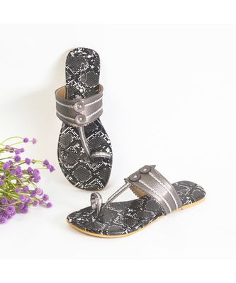 Dark Grey Kolapuri with Black and White Snake Print Sole