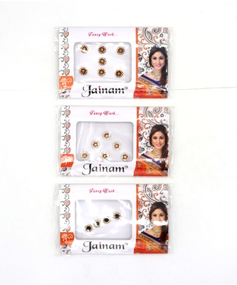 Beautiful Multi color Stone Round Shape Forehead Fancy Bindi For Girls Women(Pack of 3)