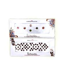 Multicolour Round Stone & Velvet Sticker Bindi Tikka kumkum for Women (pack Of 2)