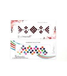 Maroon Square & Multicolor Round Velvet Bindi  For Women ( Pack Of 2)
