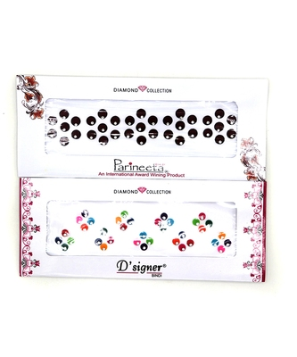 Round Maroon & Multicolor Velvet Bindi With Silver Stone(Pack Of 2)