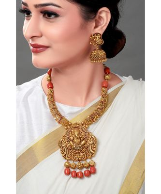 Gold Toned Earring & Necklace Set With Temple Pendant & Coral Beads