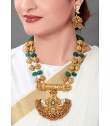 Gold Toned Temple Jewellery  Necklace  Set  With Green Semi Precious Stones