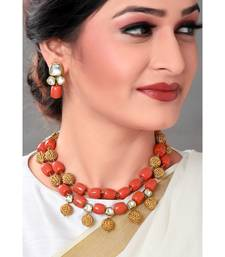 Earring & Necklace Set With Gold Toned & Corals  Beads
