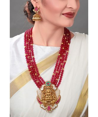 Divine Temple Gold Toned Necklace Set Layerd With Red Semi Precious Stones