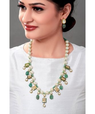 Classic Pearl Necklace Set With Enammeled Motifs & Green Beads