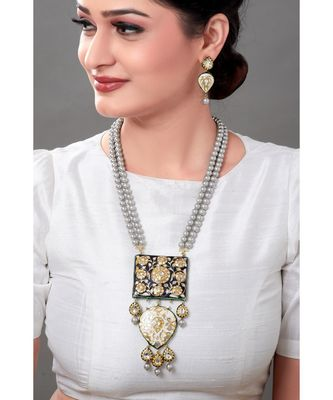 Luxe Earring & Necklace Set With Enamelling, Grey Pearls & Kundan