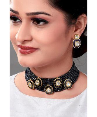 Gracelful Necklace Set With Blue Agate Beads & Kundan