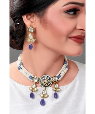 Sparkle Earring & Necklace Set Layered With Shel Pearl & Blue Agates
