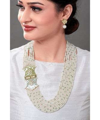 Classic White Pearl Earring & Necklace Set With Kundan & Enamelled Broach