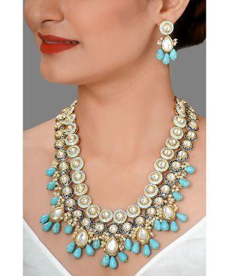 Weddiing Kundan Necklace Set With  Blue Turquoise &  Pearls