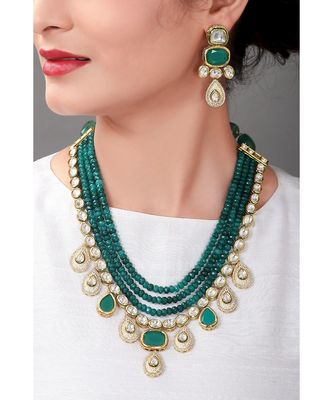 Glorious Green Festive Earring & Wedding Necklace Set  With Kundan