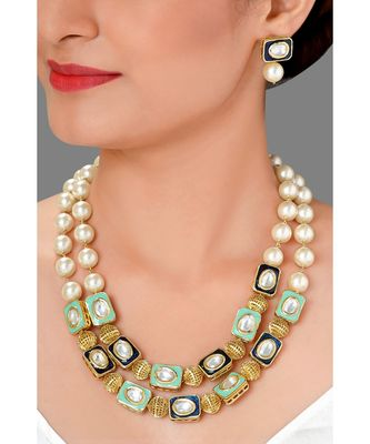 Multi Tiered Necklace Set Made With  Pearl , Enemalling Motifs & Kundan
