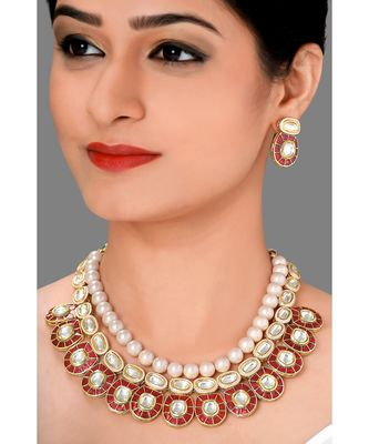 Festive Necklace Set  With Red Enamelling ,  Pearls & Kundan
