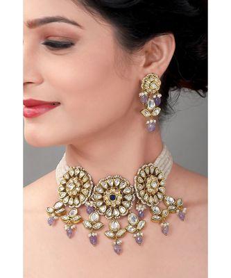 Wedding Kundan Choker & Earing Set With Amethyst Drops & Semi Precious Beads