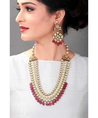 Wedding Kundan Earring & Necklace Set With Red Semi Precious Drops & Pearls