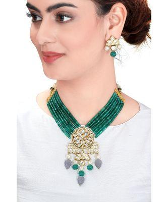 Classic Necklace & Earing  Set In A Beautiful Amalgamation Of Green Jade, Grey Quartz, Kundan. &  Pearls