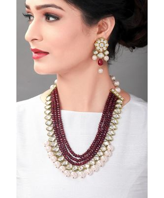 Handcrafted Wedding Necklace Set With Red Agate Beads & Kundan