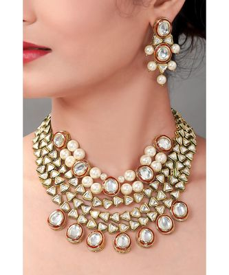 Kundan Choker Set With Red Enamelling &  Pearls