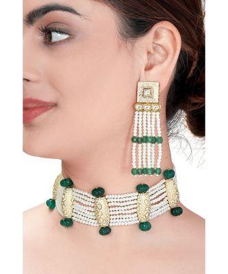 Contemporary Earring & Choker Set With Kundan,  Pearls & Green Semi Precious Stones