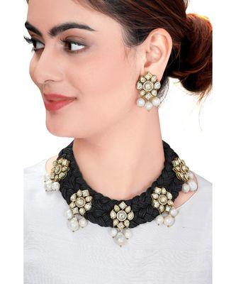 Black Satin Threaded Necklace Set With Kundan Polki Pendants & Pearls