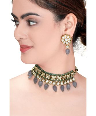 Kundan Choker Set With Green Agate Beads & Grey Quartz Leaves