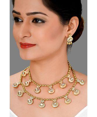 Festive Gold Polish Beaded  Necklace Set With Kundan