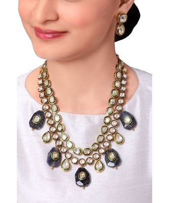 Classic Layered Kundan Earring & Necklace Set With Green Enamelling  &  Black Agate Stones