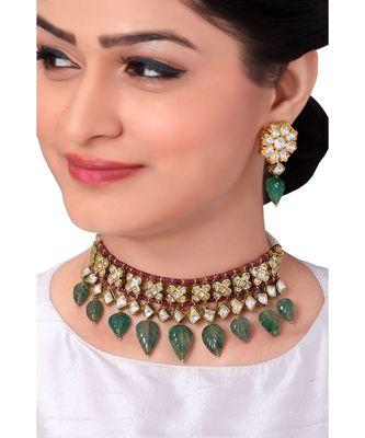 Extravagant Bridal Earring & Choker Set With Kundan & Red & Green Semi Precious Stones